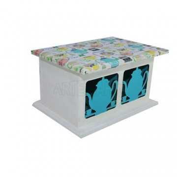 Caixa de Chá 2 Divisões - Azul