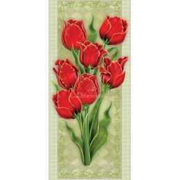 Papel para Arte Francesa 20x48cm - LFR16-Tulipas Vermelhas