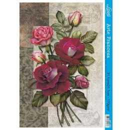 Papel para Arte Francesa 31x21cm - AF165-Buque de Rosas