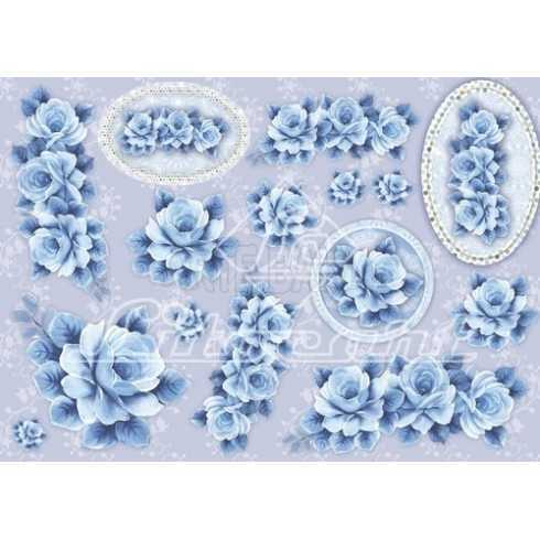 Papel para Decoupage LD505 - Rosas Azuis