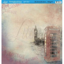 Folha para Scrapbook Dupla Face - SD065 - Londres