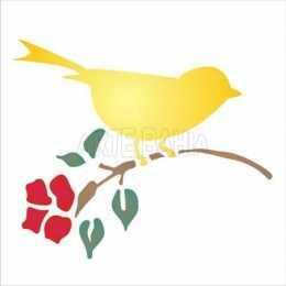 OPA 0997 Pássaro com Flor - 14x14cm