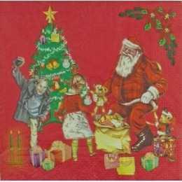 Guardanapo Papai Noel e Crianças no Fundo Vermelho (761)