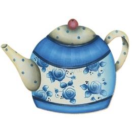 Aplique em Papel e MDF - APM8 - 064 - Bule Azul com Flores e Bolinhas