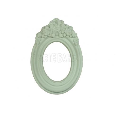 LLM-009 - Moldura sem Espelho - Oval Aplique Rosinha - 9,5x13,5cm