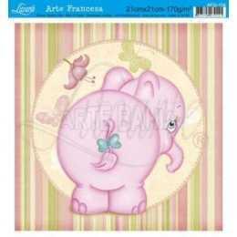 Papel para Arte Francesa 21x21cm - AFQ104-Elefante Rosa