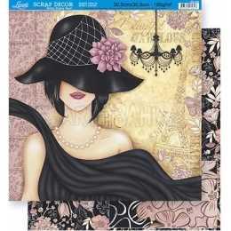 Folha para Scrapbook Dupla Face - SD336 - Dama de Vestido e Chapéu Preto