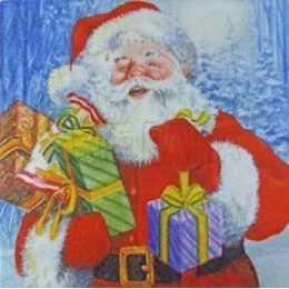 Papai Noel Grande com Lamparina e Presentes Fundo Azul (359)
