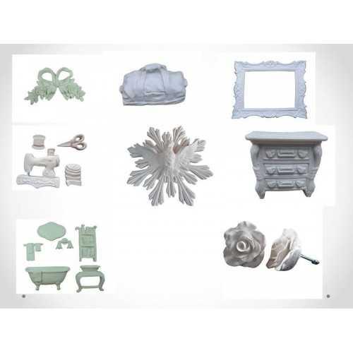Apliques e Miniaturas em Resina Branca, Porcelana, PVC e Faiança